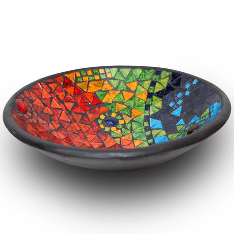 Rainbow Mosaic Terracotta Bowl