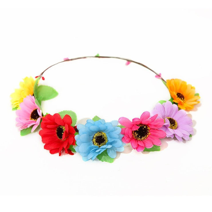 Rainbow Flower Hair Garland