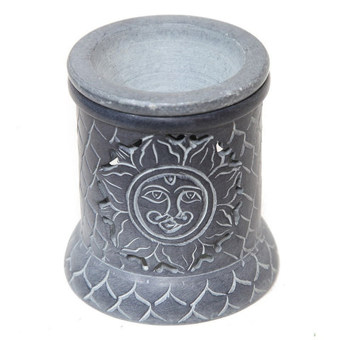 Grey Soapstone Sun Oil Burner