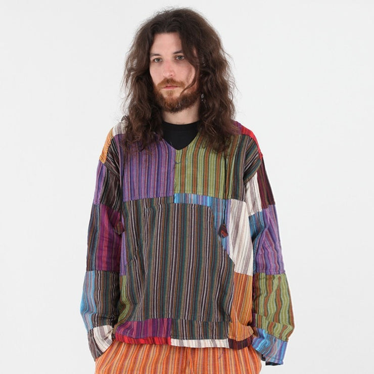 Gringo Striped Cotton Hoodie Shirt