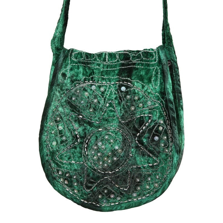 Embellished Velvet Saddle Bag