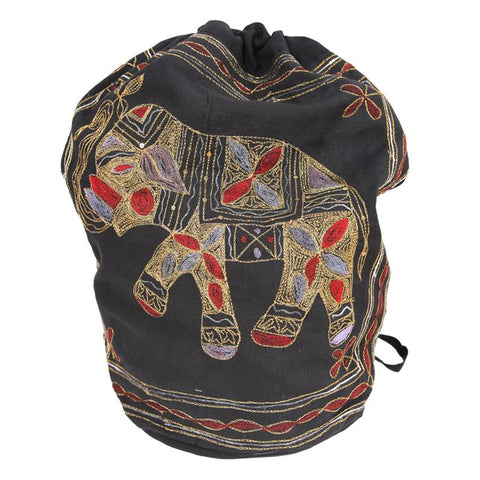 Elephant Embroidered Drawstring Slouch Backpack