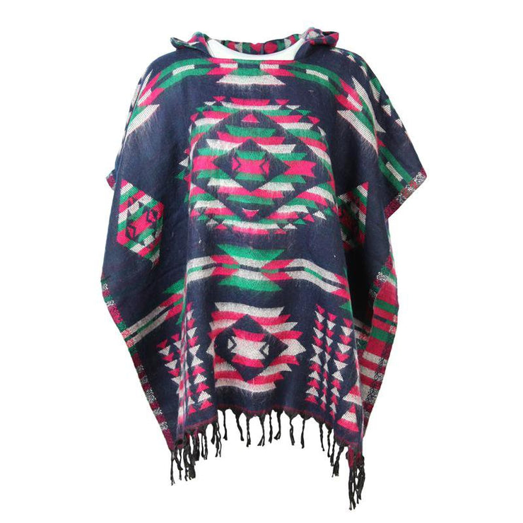 Aztec Hooded Poncho Cape