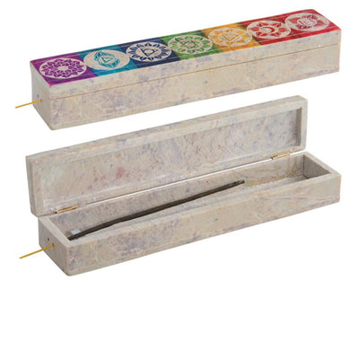 Chakra Carved Multi Colour Soapstone Incense Box