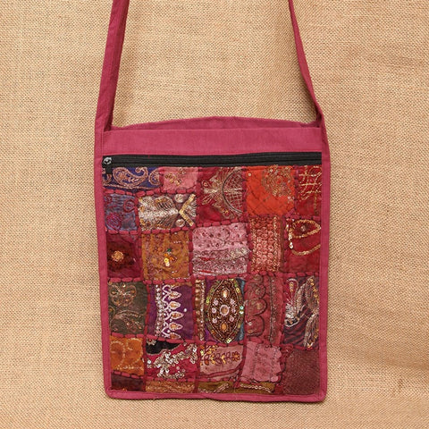 Embroidered Cotton Across Body Bag