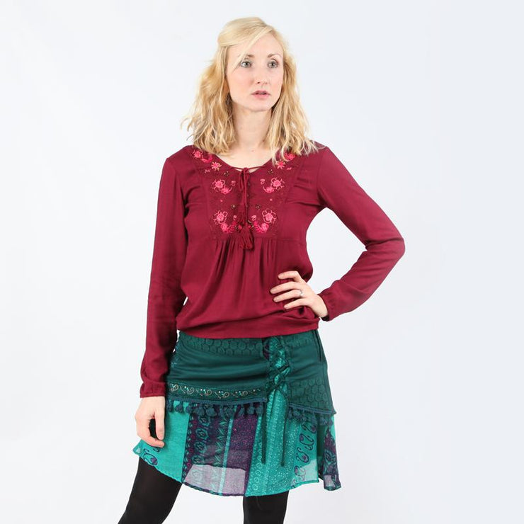 Embroidered Mini Skirt With Tassels
