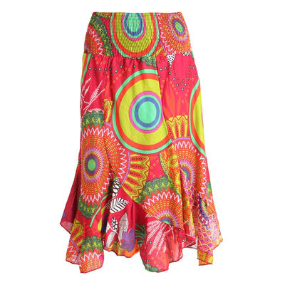 Twisted Patchwork Midi Skirt