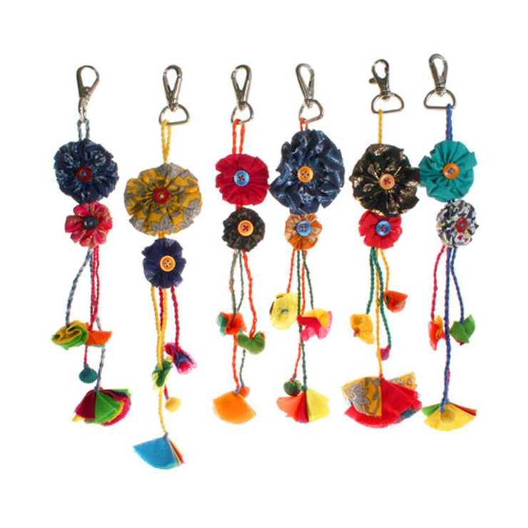 Recycled Fabric Bag Charm Flower