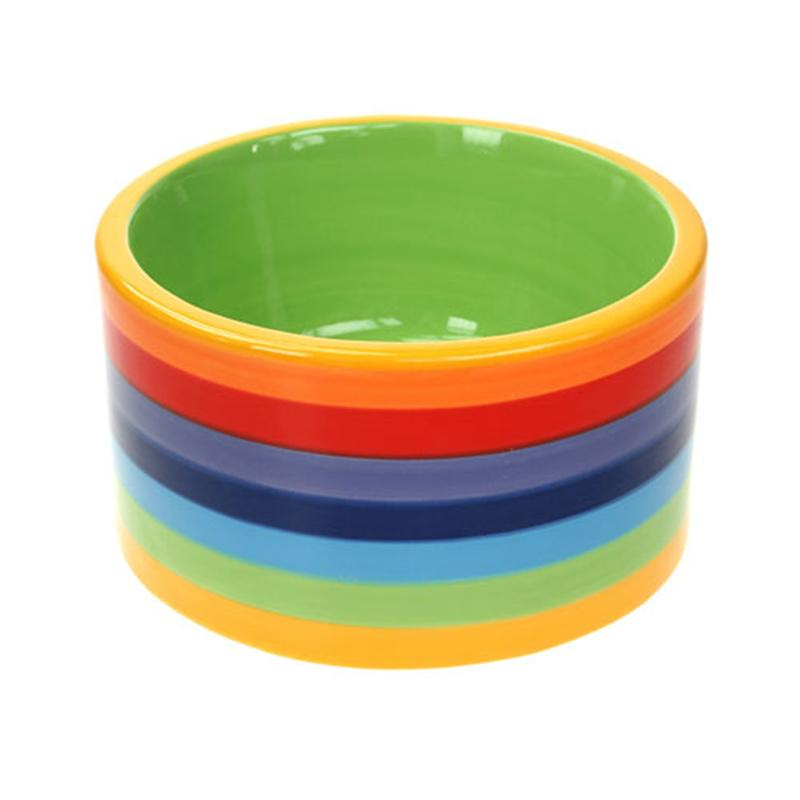 Fair Trade Rainbow Dog Bowl