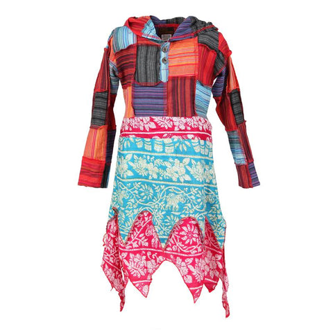 Kids Patchwork Pixie Long Sleeve Dress