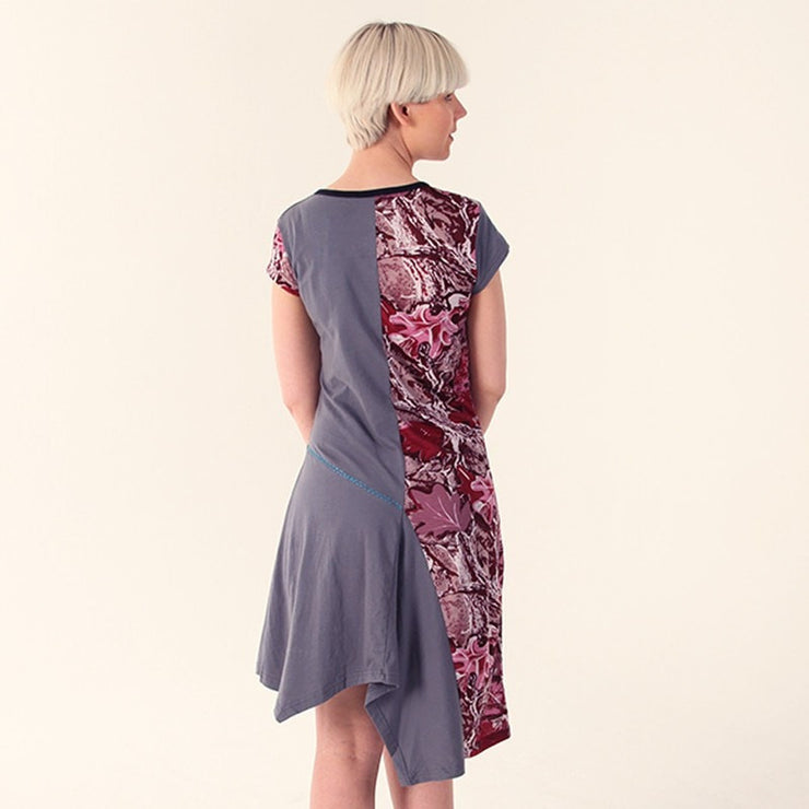 Leaf Print Asymmetric Hem Dress