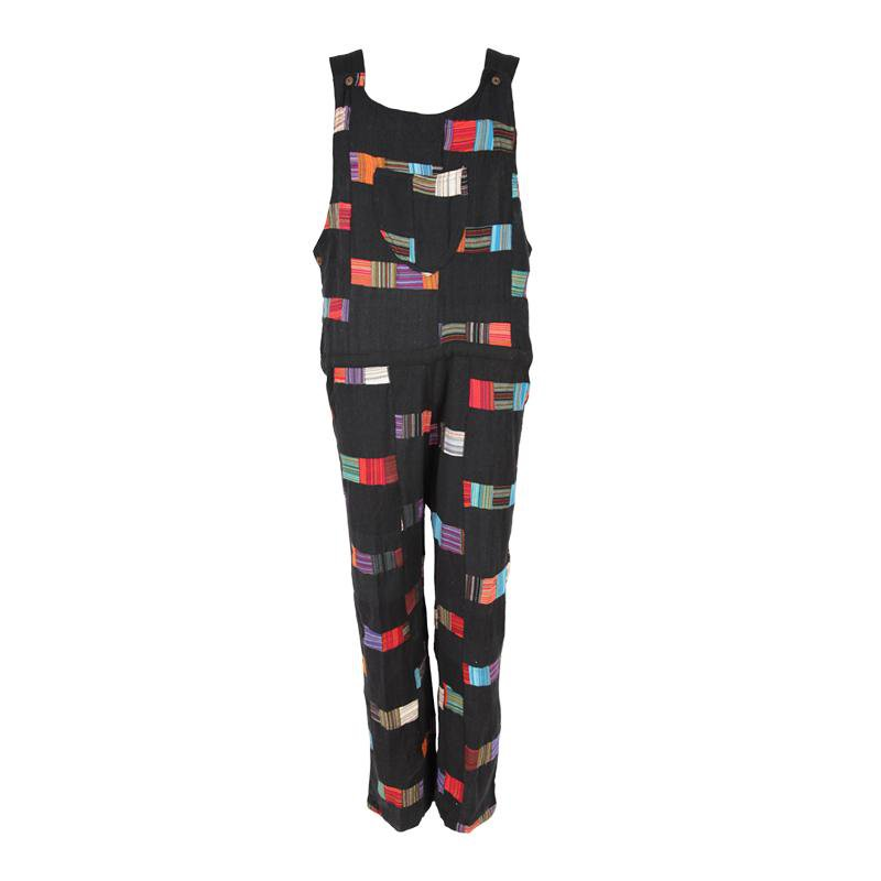 Black Patchwork Dungarees