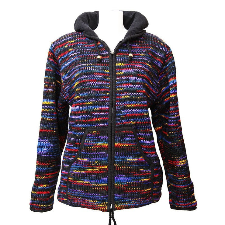 Zip up woollen hooded coat with fleece lining, overall colouring is black with rainbow streaks running through.