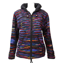 Dark Rainbow Knit Fleece Jacket