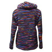 Zip up woollen hooded coat with fleece lining, overall colouring is black with rainbow streaks running through. Back view.
