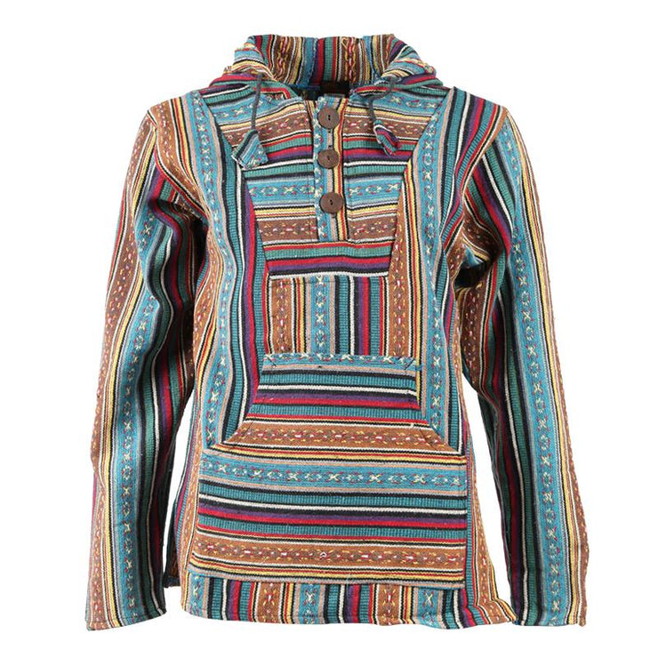 Turquoise Gheri Cotton Hoodie