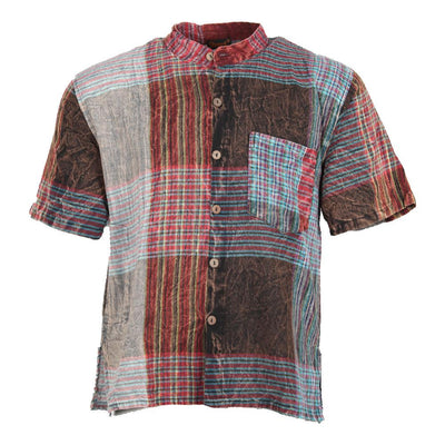 Short Sleeve Plaid Patchwork Shirt