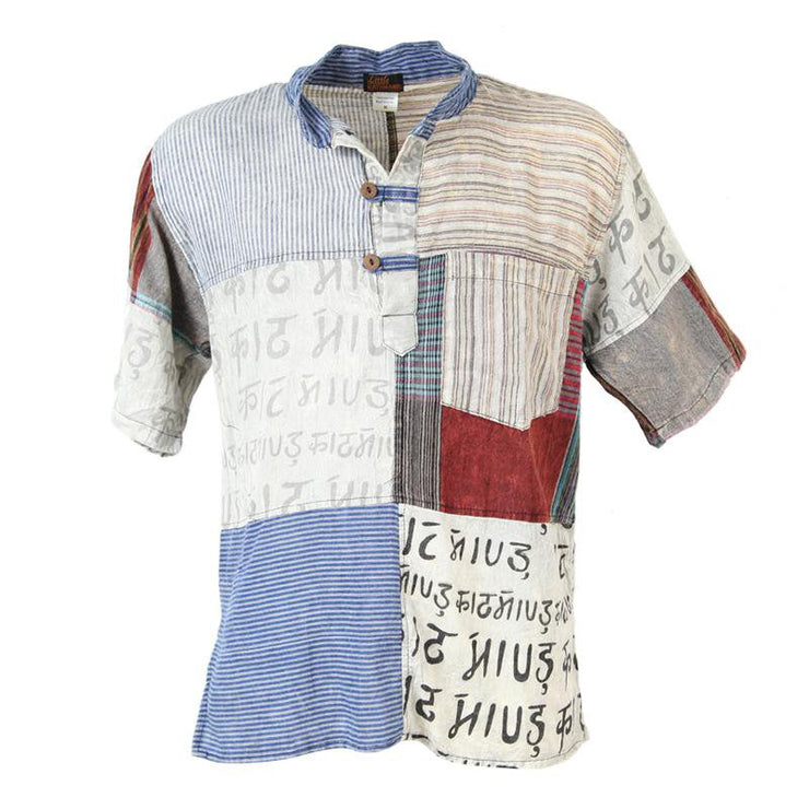 Short Sleeve Patchwork Shirt