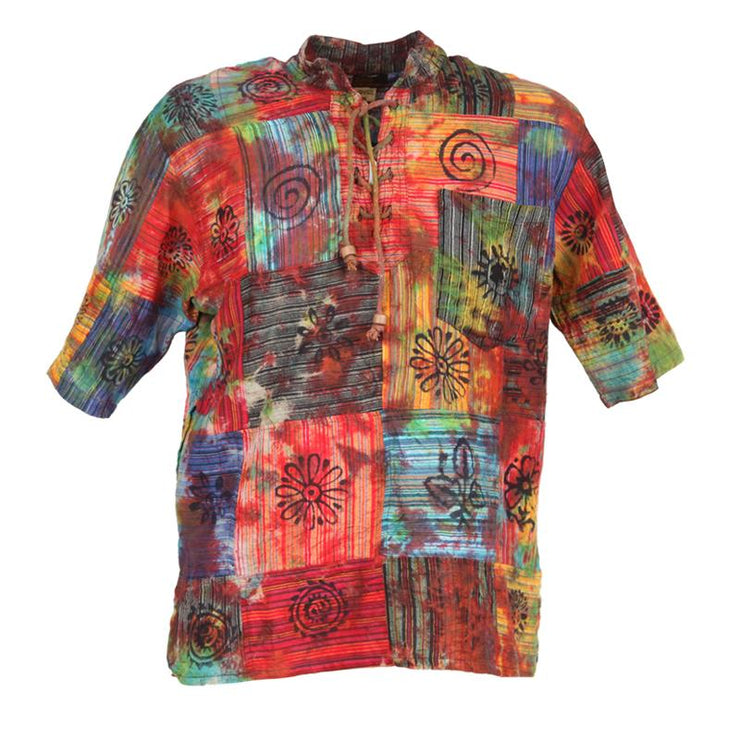 Short Sleeve Patchwork Tie Dye Shirt