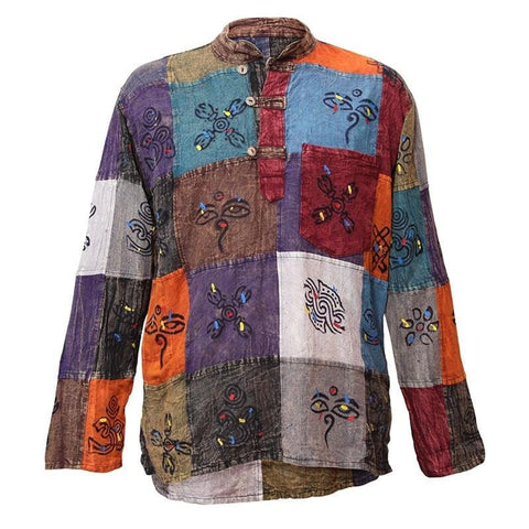 Nepalese Painted Collarless Shirt