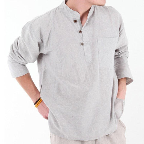Hemp Mix Collarless Shirt
