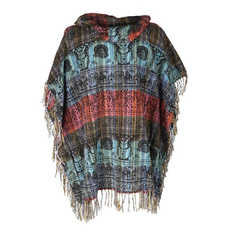 Patchwork & Screen Print Poncho