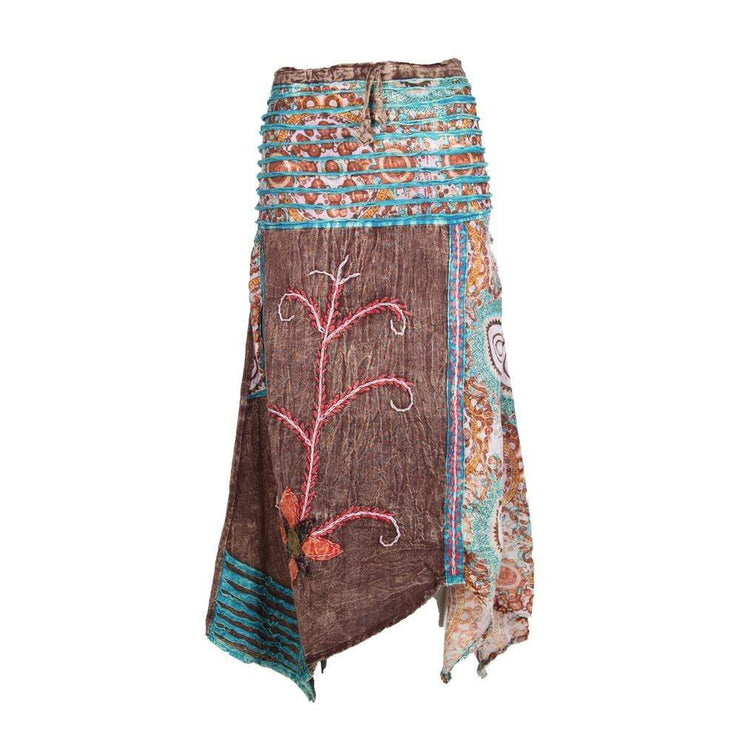 Embroidered Hanky Hem Skirt