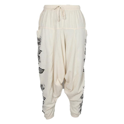 Dragon Screen Print Harem Pants
