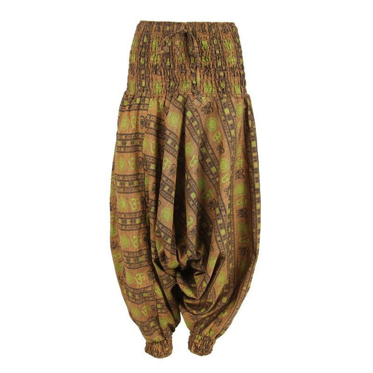 Om Print Drop Crotch Harem Pants.