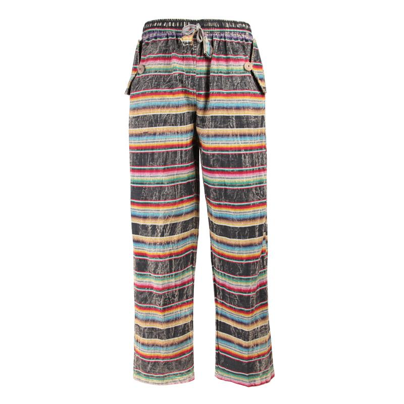 Men's Sarape Patterned Striped Trousers