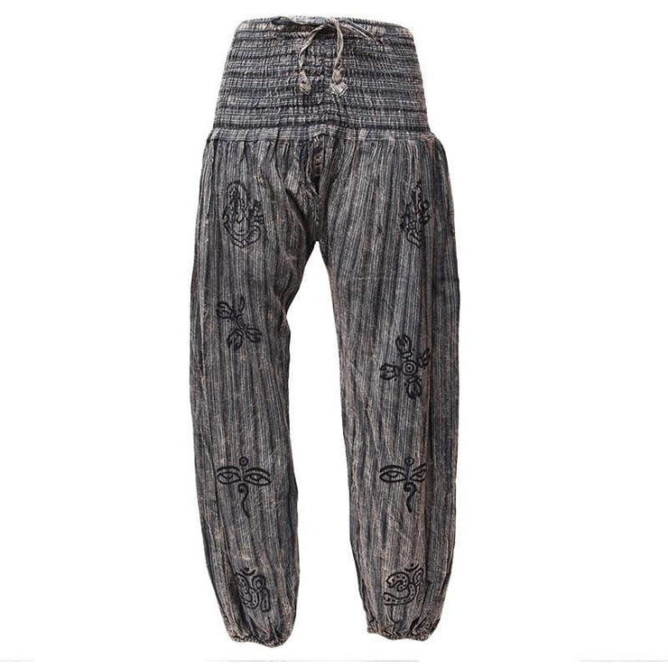 High crotch harems with elasticated waist and ankles in a stonewashed finish with block printed symbols and a drawstring adjustable waist - Black