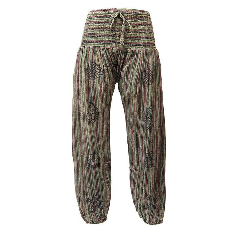 High crotch harems with elasticated waist and ankles in a stonewashed finish with block printed symbols and a drawstring adjustable waist - Dark Green