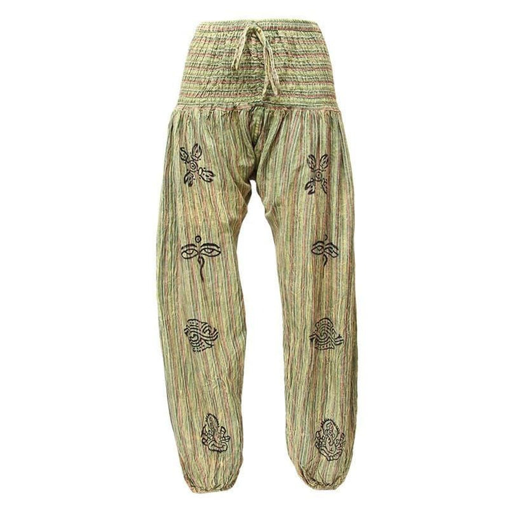 High crotch harems with elasticated waist and ankles in a stonewashed finish with block printed symbols and a drawstring adjustable waist - Light Green