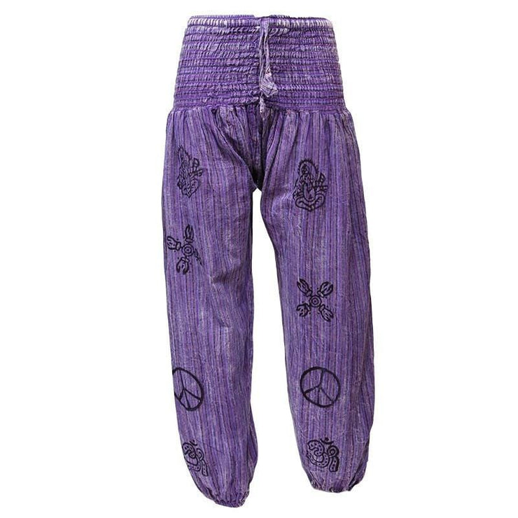 High crotch harems with elasticated waist and ankles in a stonewashed finish with block printed symbols and a drawstring adjustable waist - Purple
