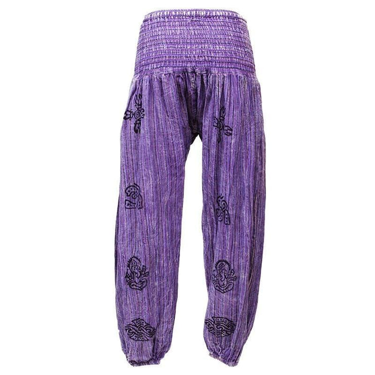 High crotch harems with elasticated waist and ankles in a stonewashed finish with block printed symbols and a drawstring adjustable waist - Purple, back view
