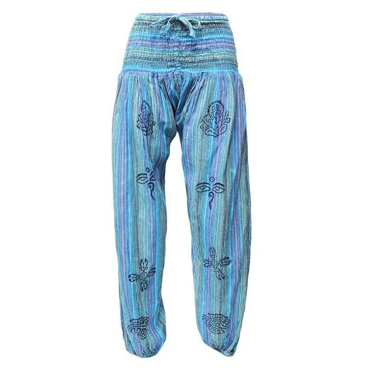 High crotch harems with elasticated waist and ankles in a stonewashed finish with block printed symbols and a drawstring adjustable waist - Turquoise