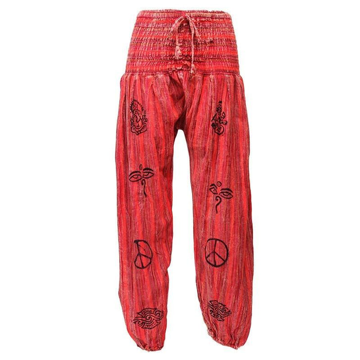 High crotch harems with elasticated waist and ankles in a stonewashed finish with block printed symbols and a drawstring adjustable waist - Maroon