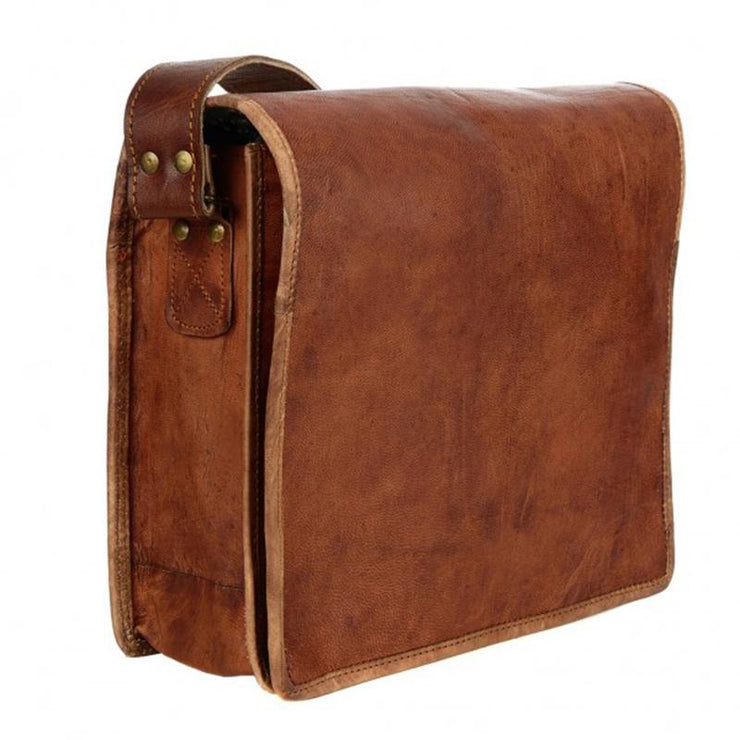 Fair Trade Small Brown Leather Courier Bag