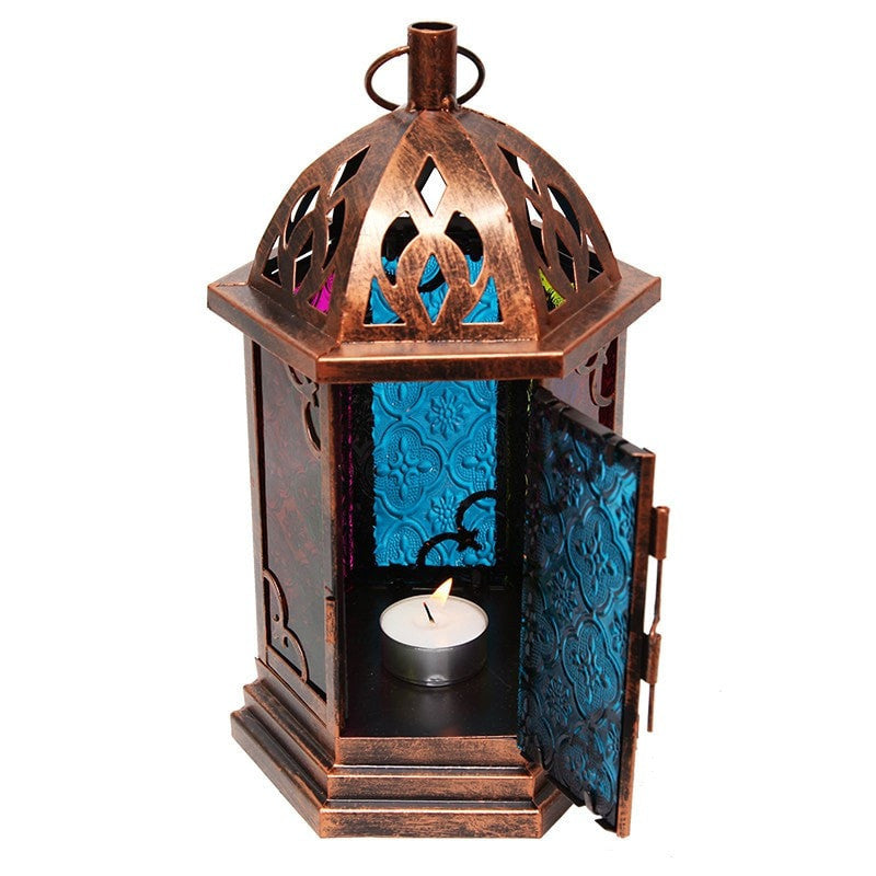 Stained Glass Copper Finish Lantern