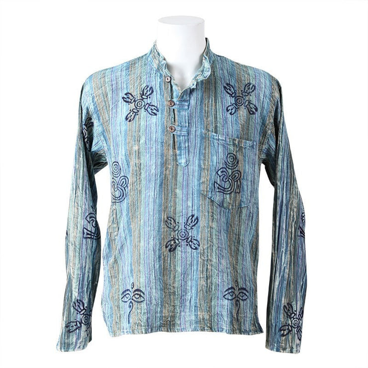 Collarless Acid Wash Shirt