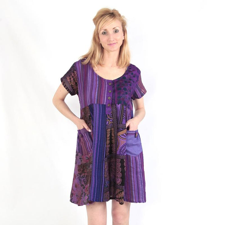 Patchwork Smock Dress