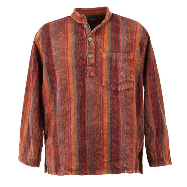 Nepalese Flannel Collarless Shirt