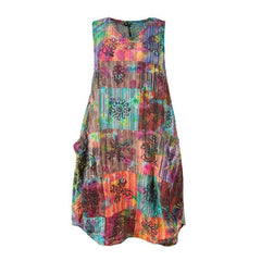 Tie Dye Patchwork Smock Dress