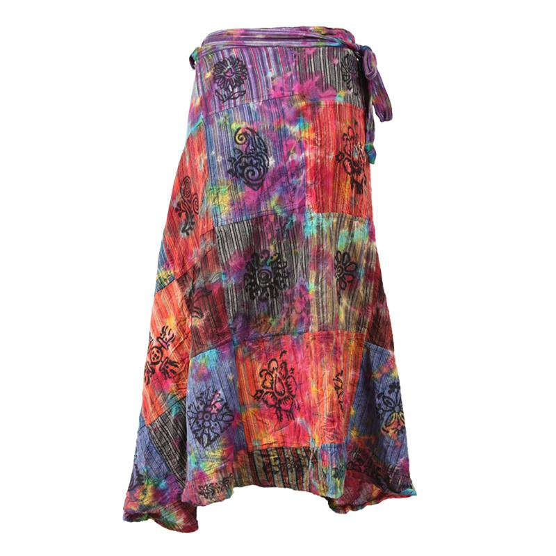 Tie Dye Patchwork Midi Wrap Skirt