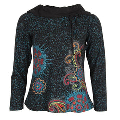 Embroidered Cowl Neck Top