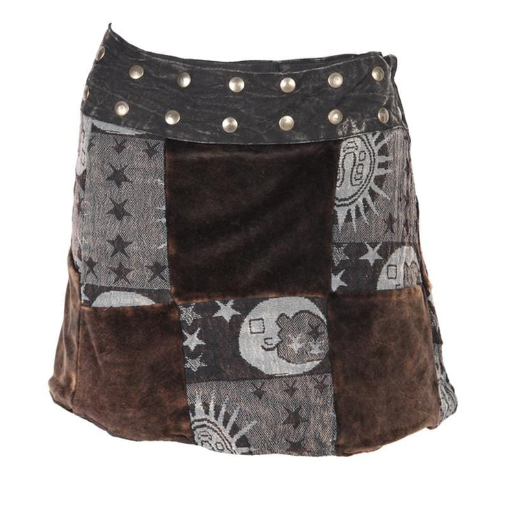 Velvet Patchwork Popper Skirt