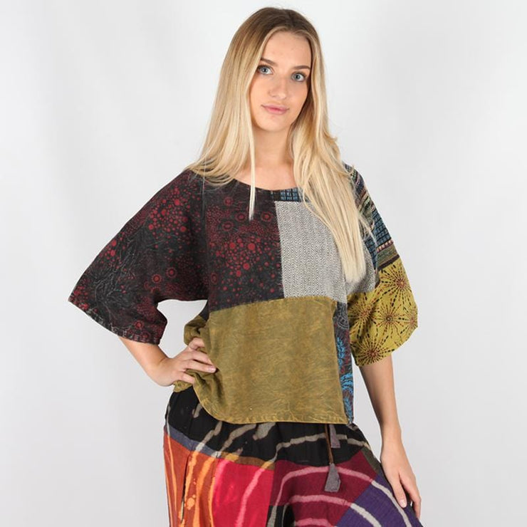 Oversize Short Sleeve Patchwork Top