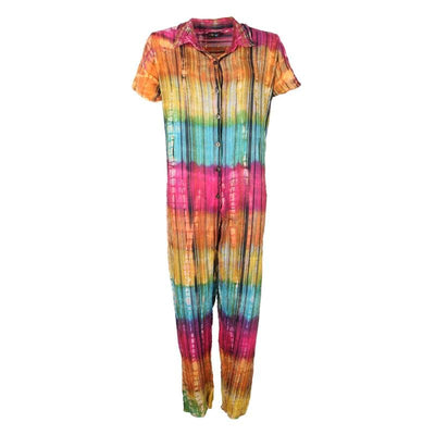 Tie Dye Short Sleeve Seersucker Jumpsuit