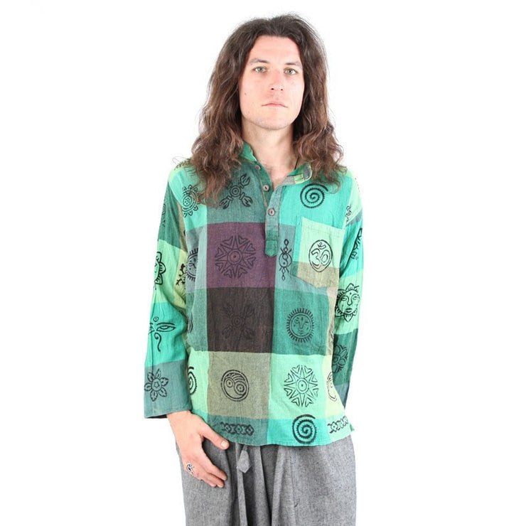 Oversized Green Grandad Check Shirt With Print