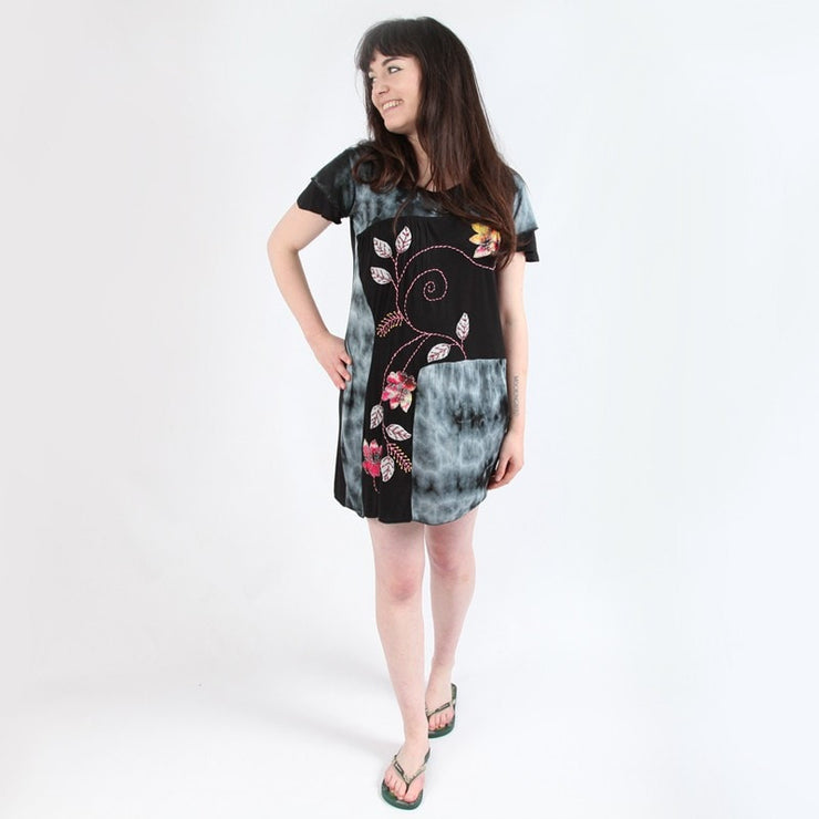 Tie Dye & Applique Flower T-Shirt Dress